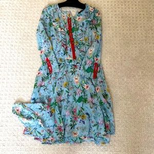 The Kooples floral dress w/ slip red embroidery Sm